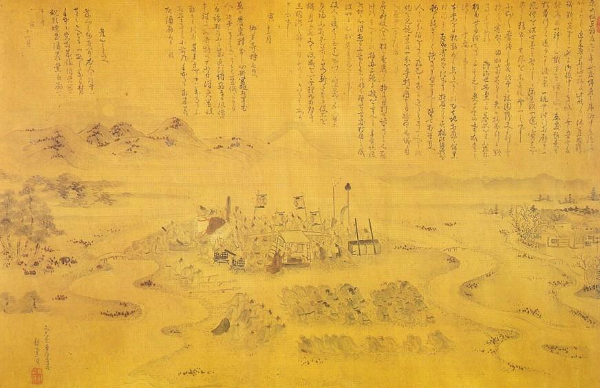 酒匂河原表彰の図(絹本彩色)